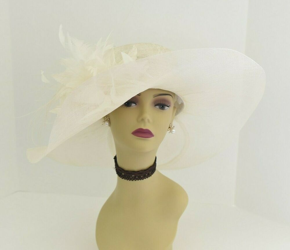 3c5bde4df2aaa Details about M58( Ivory )Kentucky Derby Church Wedding Royal Ascot Wide  Brim Sinamay Hat