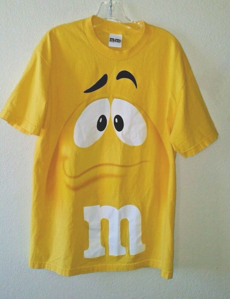a654383c4cb8 Details about Fabulous Yellow M   M Chocolate Candies Size L Cotton Tee  Shirt
