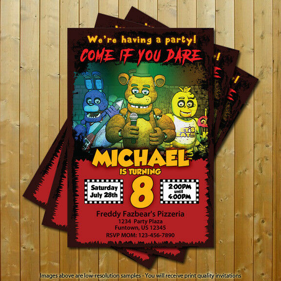 Details About Five Nights At Freddys FNAF Birthday Party Invitations