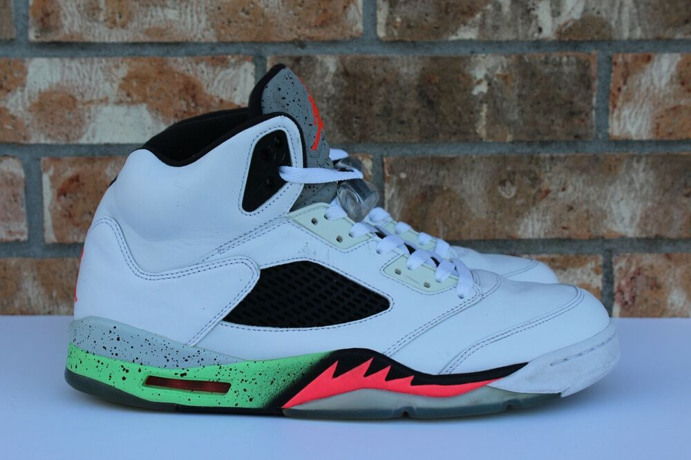new product ac0a0 13906 Details about Men s Nike Air Jordan 5 V Retro Pro Stars Poison Green White  Sz 11.5 136027 115