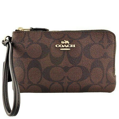 e644ad5db9ba Details about NWT Coach F87591 Double Corner Zip Wristlet Wallet in Signature  Canvas Brown Blk