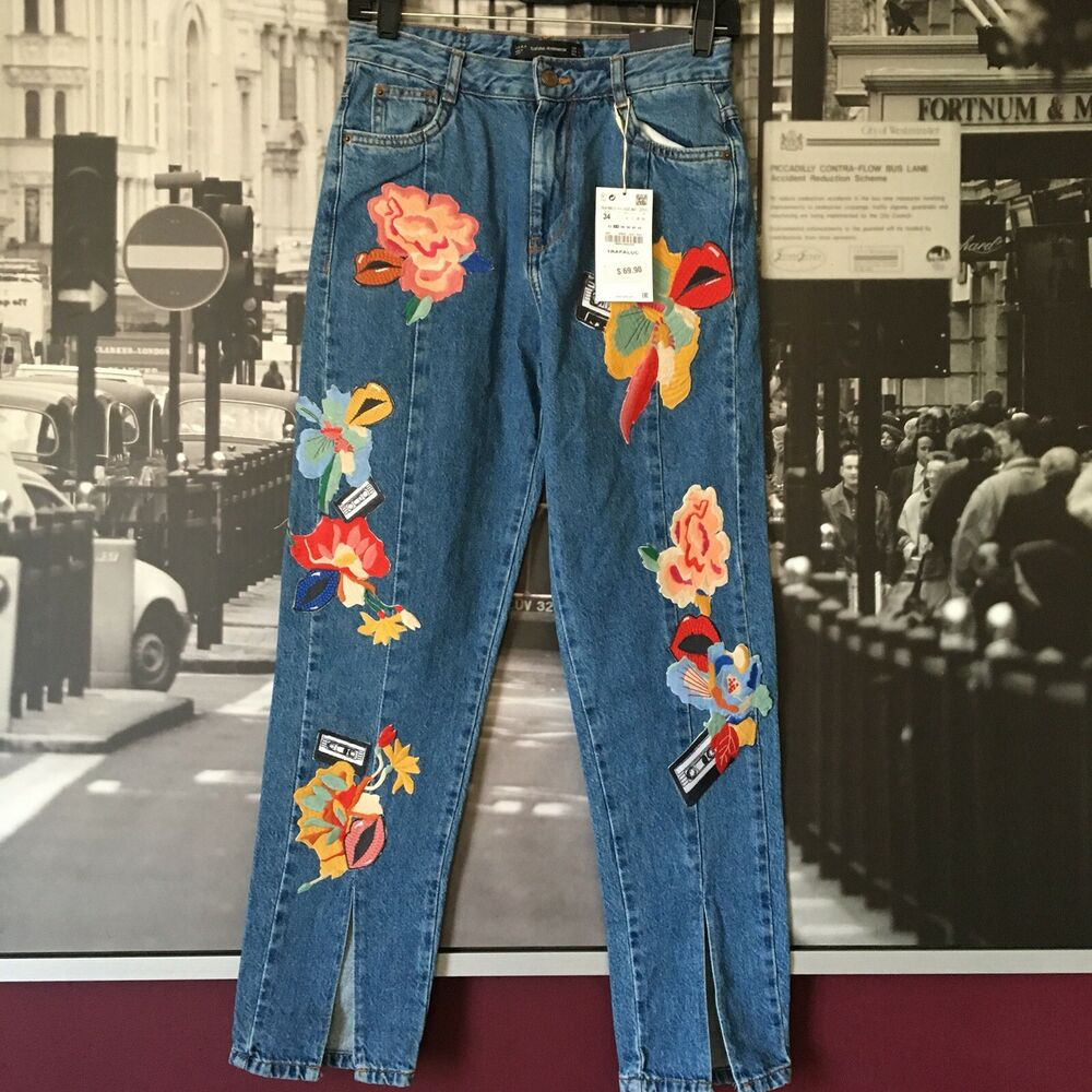 ea7cf3fa Details about NWT ZARA TRAFALUC Denim wear Floral Patch Jeans Size US 7 Mom  Fit