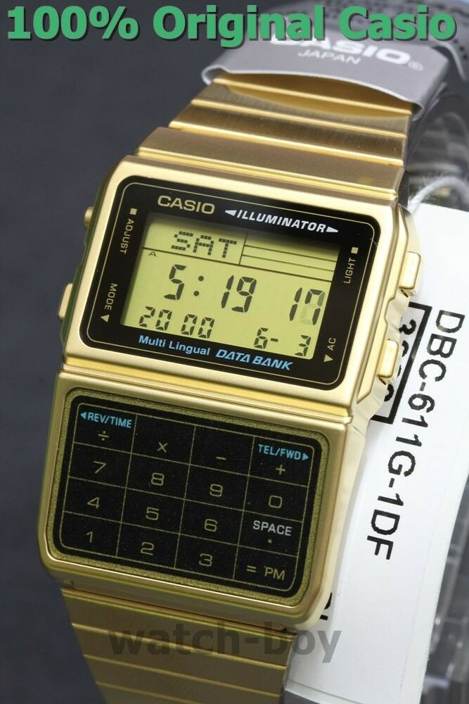 27661f686d0 Details about DBC-611G-1D Gold Casio Steel Watch DataBank Calculation  Digital Vintage Alarm