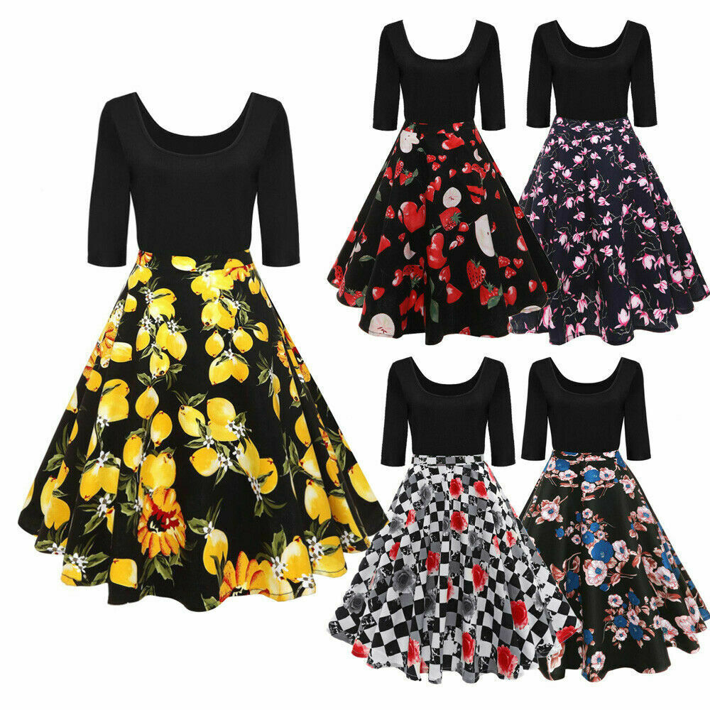 Plus Size 50s Lemon/Floral Rockabilly Swing Housewife Party Evening ...
