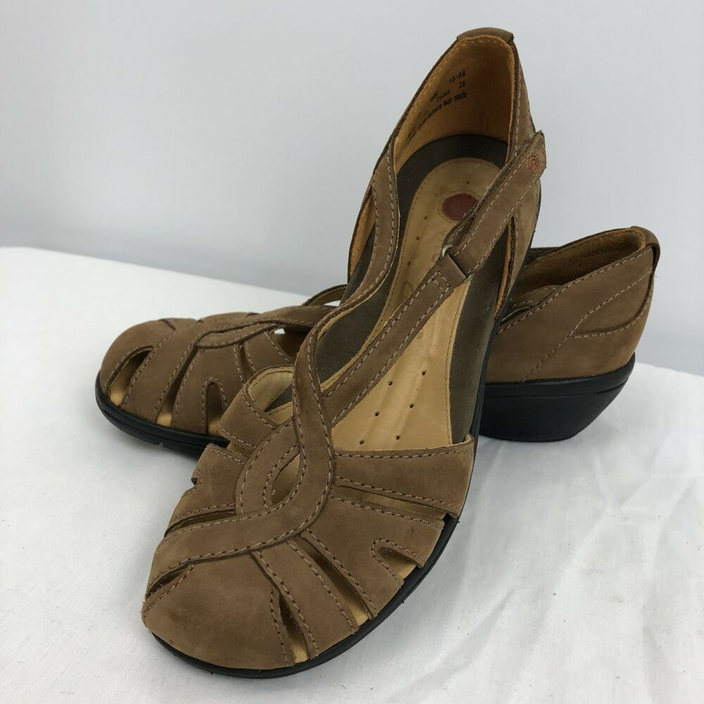 a6077c75c07 Details about Womens UN Structured Clarks Brown Suede Leather Sandals Size  8 Shoe Buckle