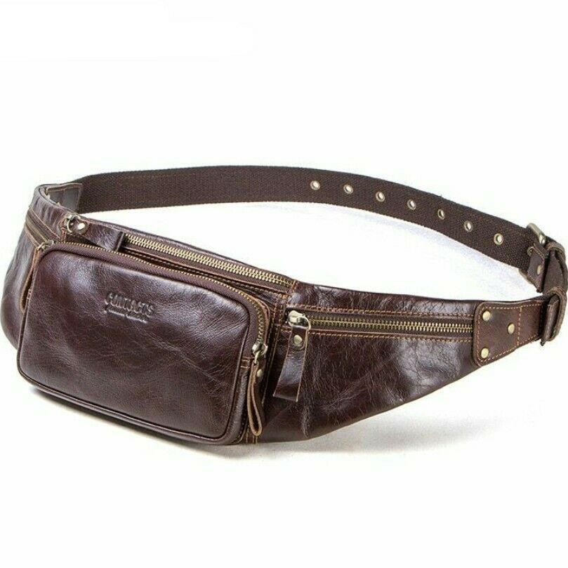 61488ee87e78 Cow Leather Men Waist Bag New Casual Small Pack Male Waist Pack Travel  Chest Bag   eBay