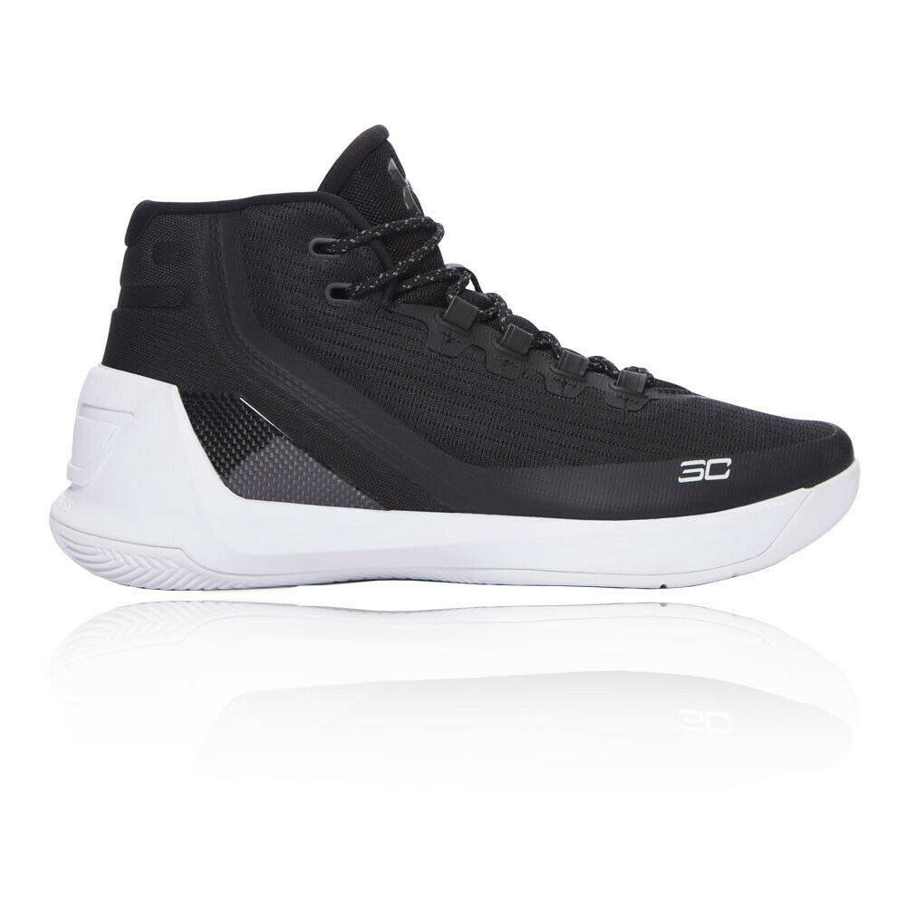 4c9fa8a0cec Details about Under Armour Mens Curry 3 Basketball Shoes Black White Sports  Breathable