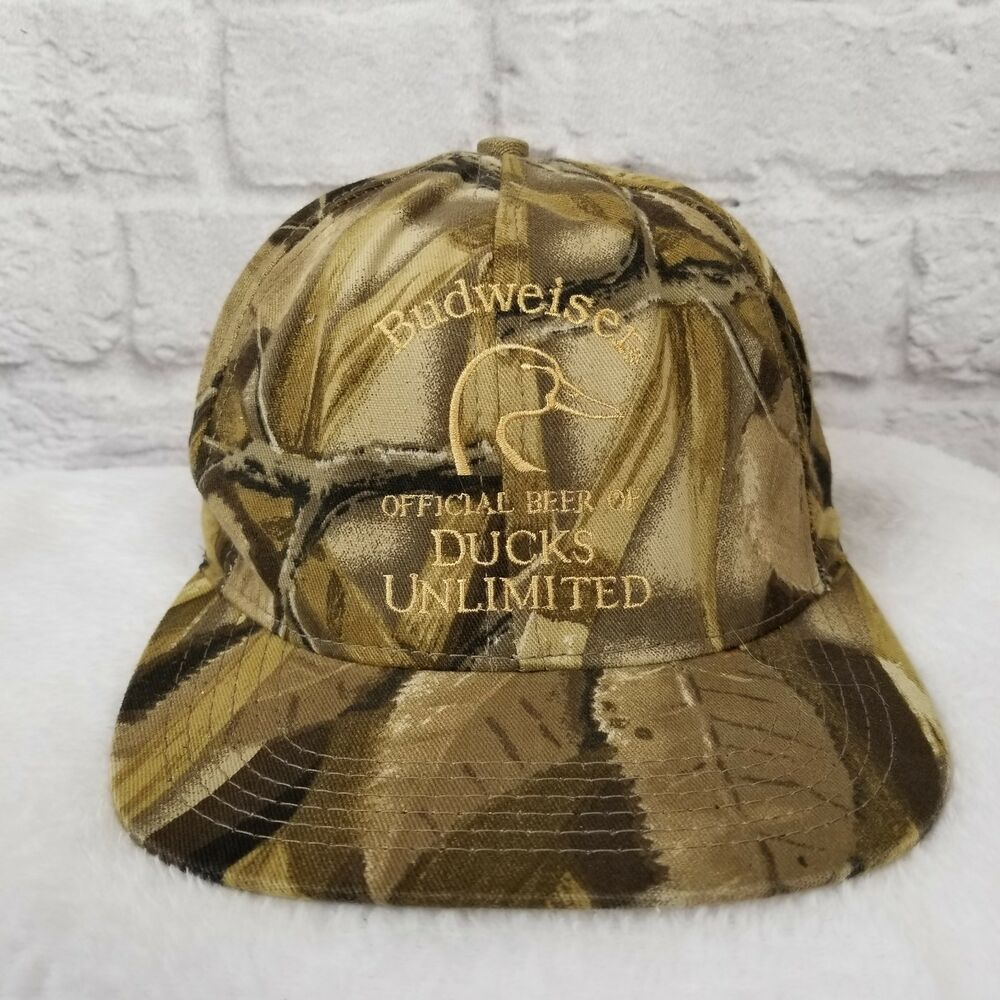 750e1f794a1d7 Details about Budweiser Official Beer Of Ducks Unlimited Camo Baseball Cap  Rare Poly Cotton