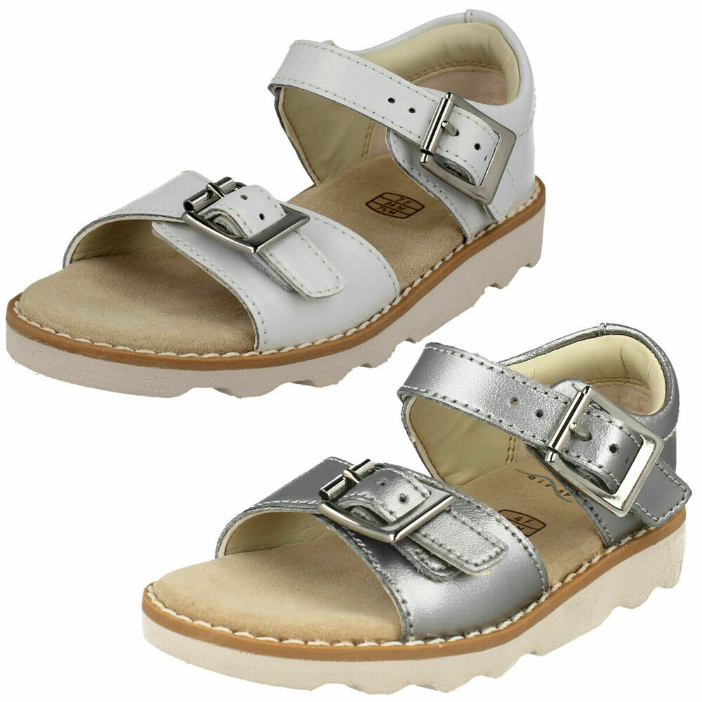 fca8e10eac9 Details about GIRLS CLARKS CROWN BLOOM T SILVER SANDALS