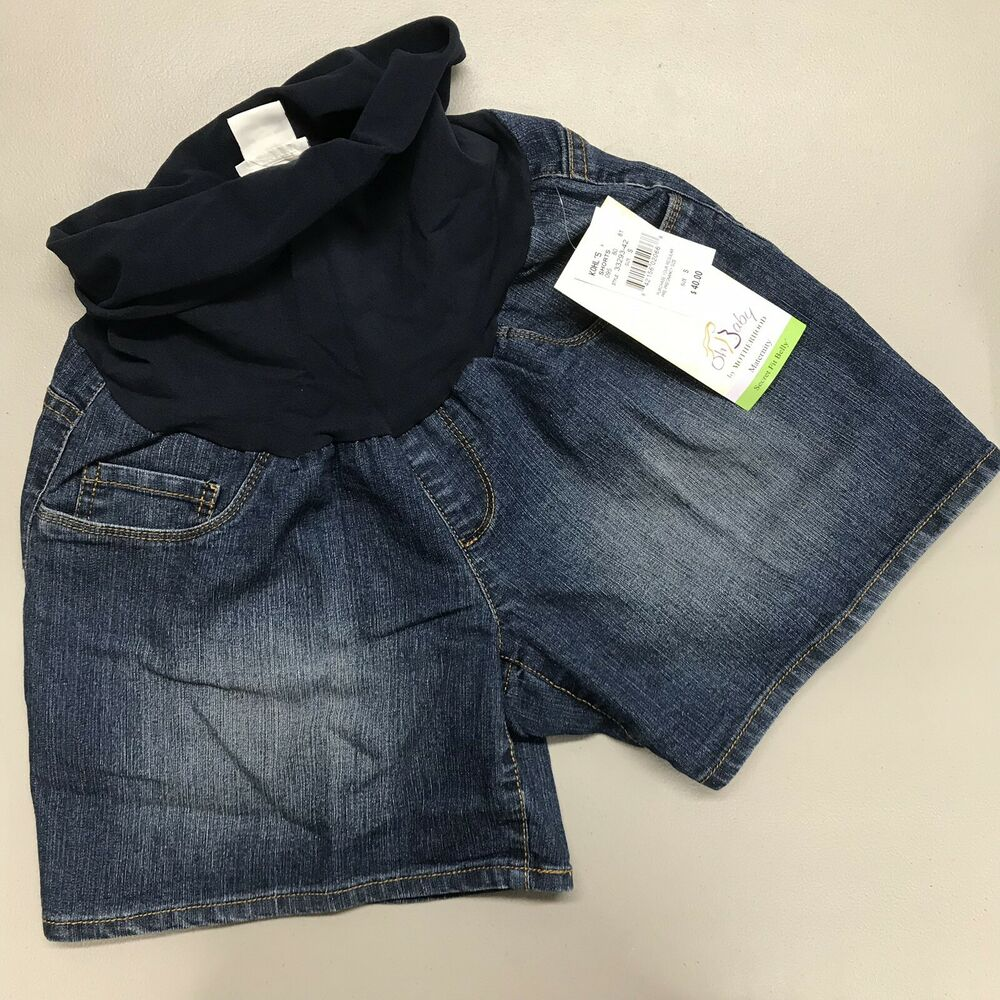 e140ee0fc5a76 Details about Oh Baby Maternity Shorts Motherhood Size S Blue Jean Secret  Fit Belly Panel