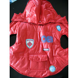 Quilted RED Puffy Dog Coats Jackets (2) Puffy (2) wool Sm to Med Dog Used