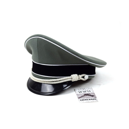 img-WWII German Elite Whipcord Hat Officer Cap W White Chin Pipe Silver Cord 57 cm