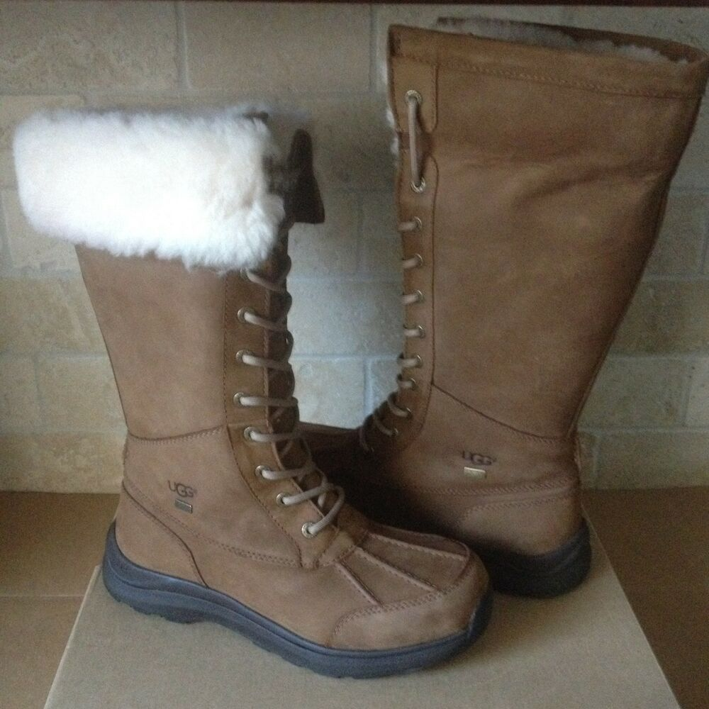 3bed0608d34 UGG Adirondack Tall III Chestnut Waterproof Leather Snow Boots Size 5.5  Womens | eBay
