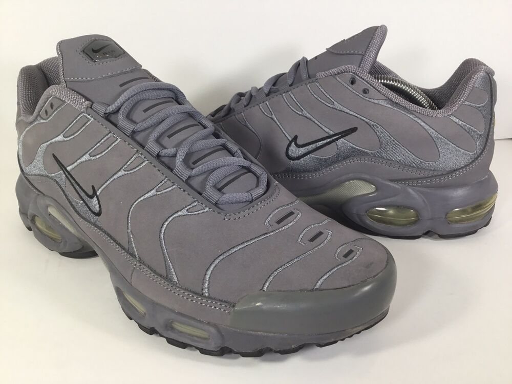 buy popular c104c 4d1ce Details about Nike Air Max Plus TN Leather Cool Grey Metallic Silver Black  Mens Size 10.5 Rare
