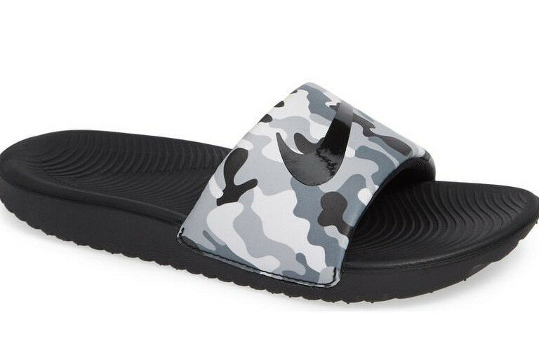 d8df3e07d Details about Nike Boy s Kawa Grey Black Camo Print Slide Sandals (819358)-  Sizes 12 1 3 4 5 6
