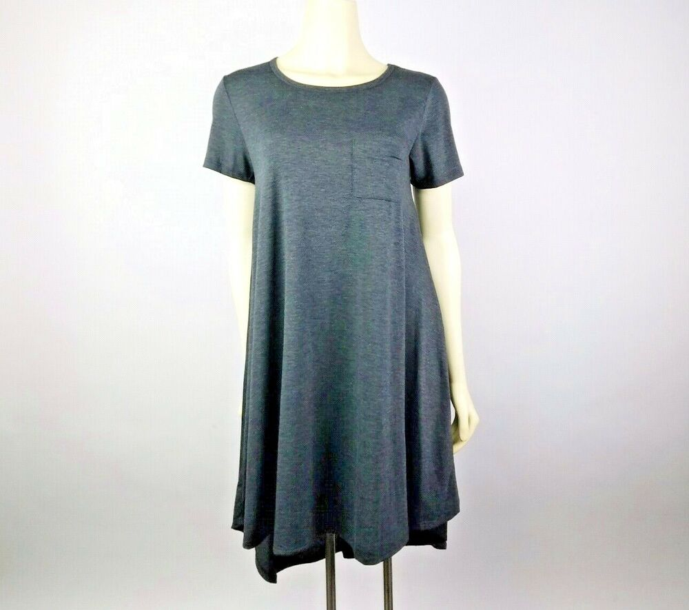 37f2b2ef9cbca LuLaRoe Carly Dress Size XS ( 2-4) Dark Gray Charcoal Black Hi Lo Hem Short  Slv | eBay