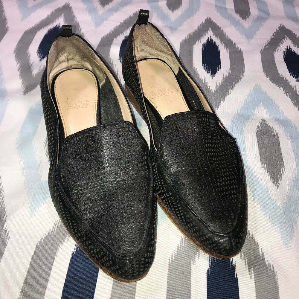 e4c4dc9a641 Details about Vince Camuto Size 7 Black Kade Cutout Loafers Laser Cutout  Pointed Toe Low Heel