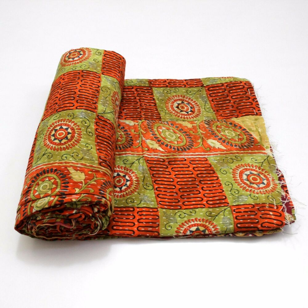 Home & Garden Indian Handmade Kantha Quilt Vintage Bedspread Throw Cotton Blanket Bedding Products Hot Sale Quilts, Bedspreads & Coverlets