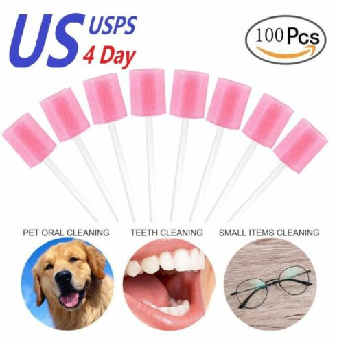 Disposable Mouth Swabs Sponge Tooth Cleaning Oral Care Swab Sticks 100pcs Pink