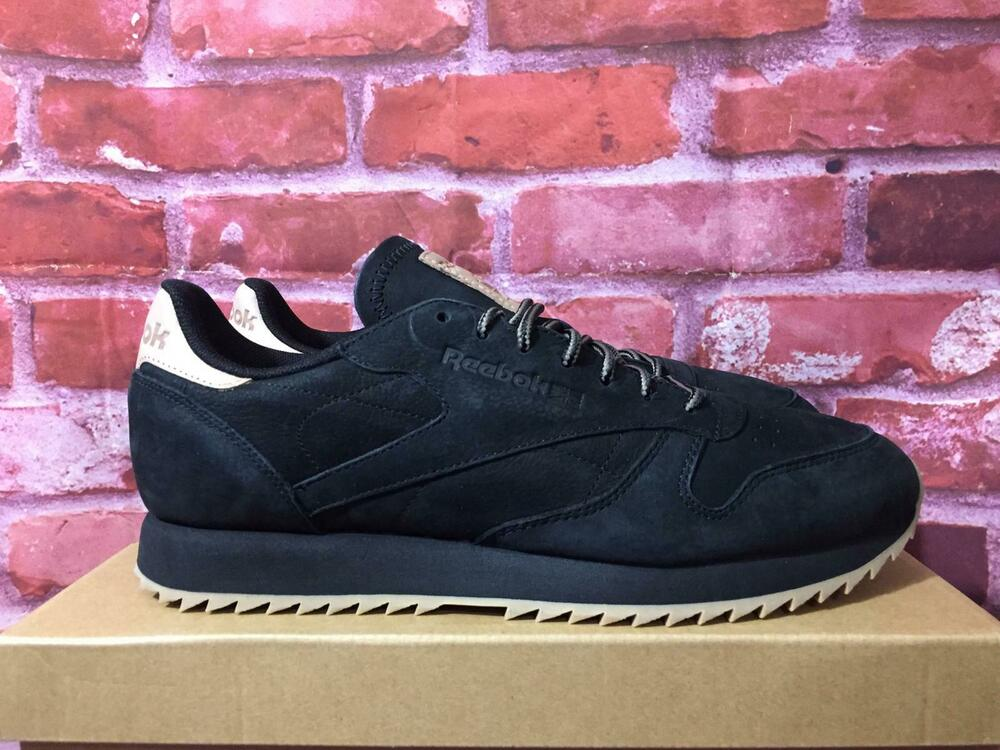 5ef35357d832e Details about REEBOK MEN S CLASSIC LEATHER RIPPLE WATERPROOF RUNNING SHOES  BLACK  GUM CN1925