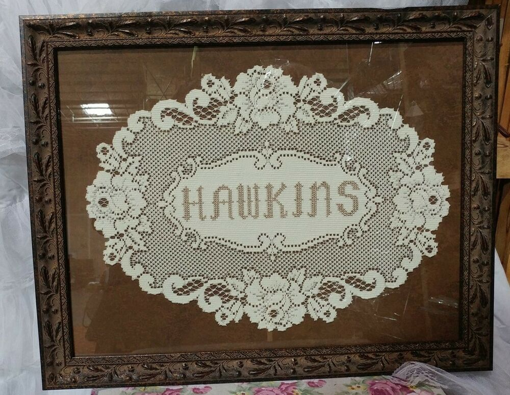 Victorian Trading Co Hawkins Family Name Filet Crochet Lace Framed