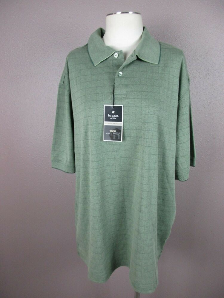 a313cbf1b Details about NWT Haggar T376 Size XL Men s Green Round Neck Short Sleeve  Polo Shirt(MSRP  45)