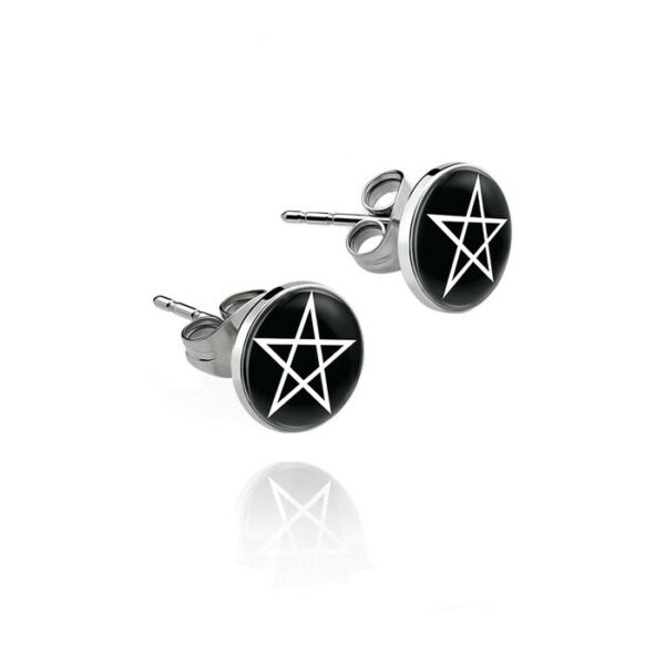 Earrings Boucles d'oreilles Dark-Silver Pentagram Witch Sorcière Gothic Gothique