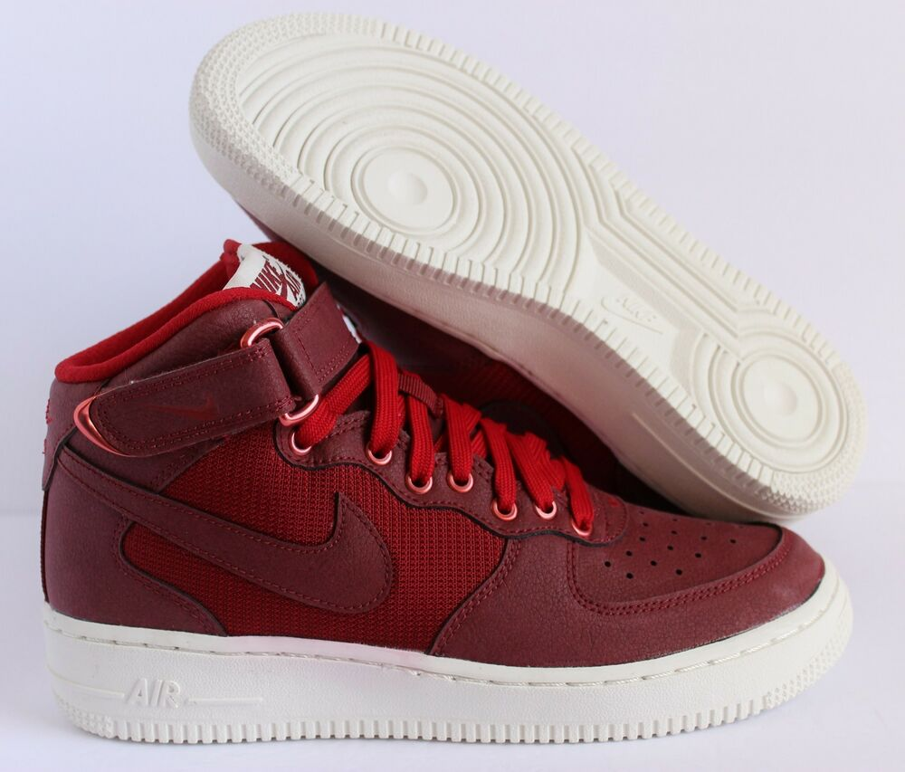 low priced 4d23c 4bc3a Details about NIKE AIR FORCE 1 MID LV8 (GS) TEAM RED-GYM RED SZ 5.5Y -WMNS  SZ 7  820342-600