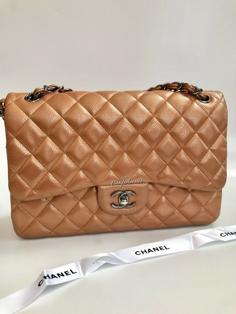 7135f0e30b7cbe Details about LTD EDITION Chanel Caviar Quilted Jumbo Double Flap Bag  Copper Gold Beige RHW