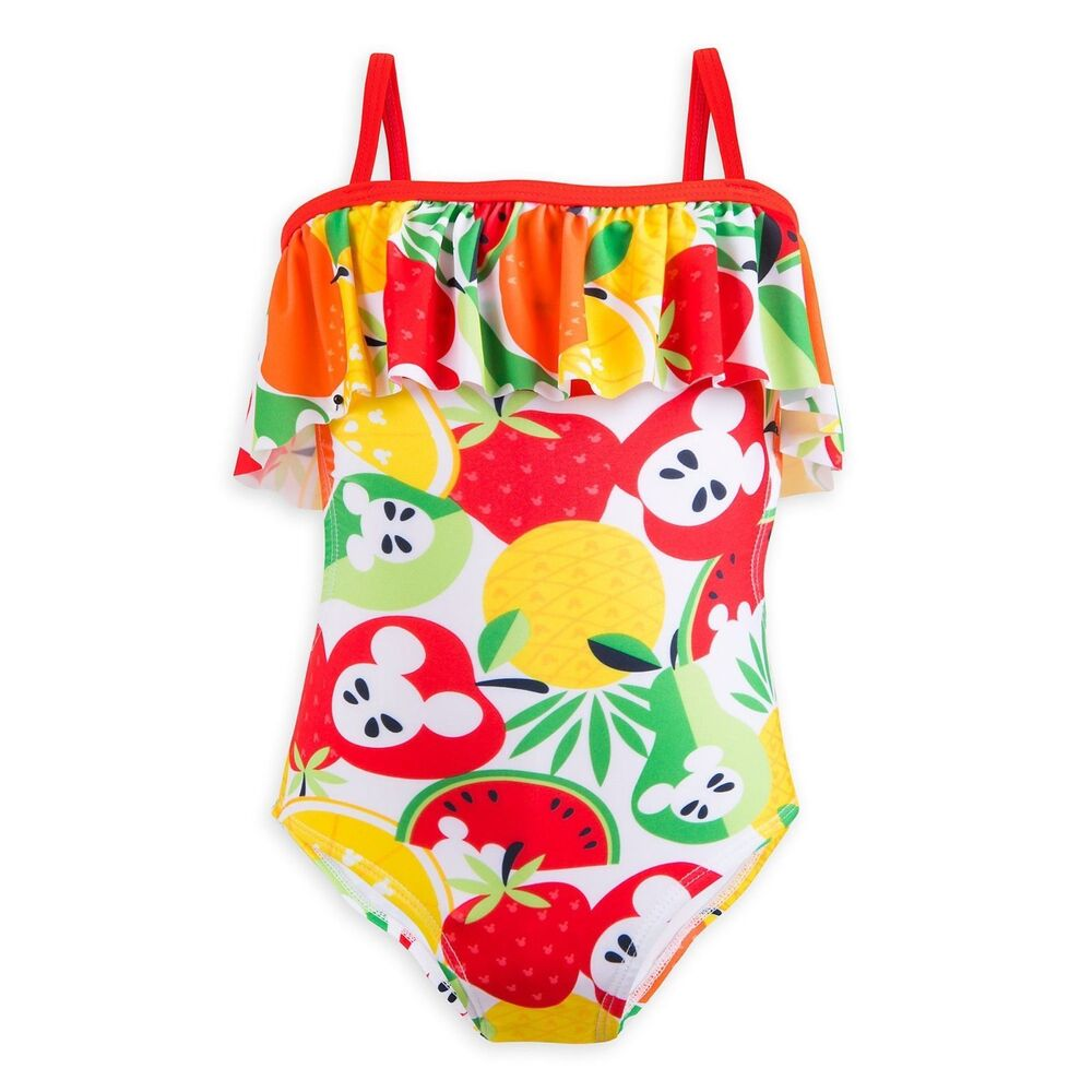 7038366dff Details about NWT Disney Store Mickey Mouse Fruit Swimsuit 1 pc Girls Size 5 /6
