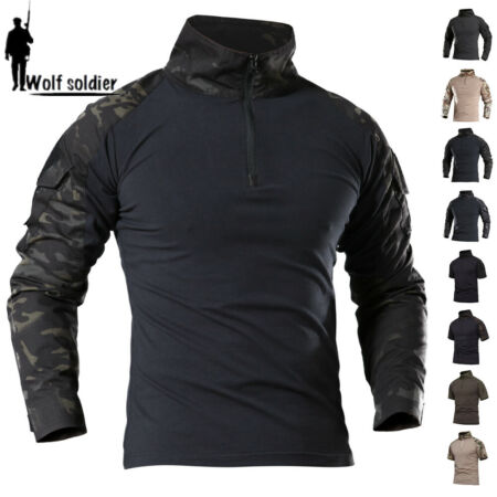 img-Mens Military Army Combat Shirt Tactical Long Sleeve Casual T-Shirt Camouflage