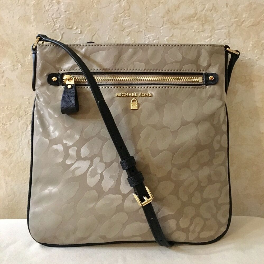 bfffdb4a52d8 Details about MK Michael Kors Kelsey Large Leopard Nylon Cross body Bag  Truffle Brown