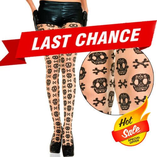1afb314111fec Details about Sheer Beige Black Sugar Skull Pattern Day of the Dead  Halloween Panythose Tights