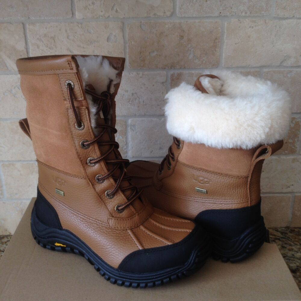 378d3f41 Details about UGG Adirondack II Chestnut Otter Waterproof Leather Snow Boots  Size 5 Womens