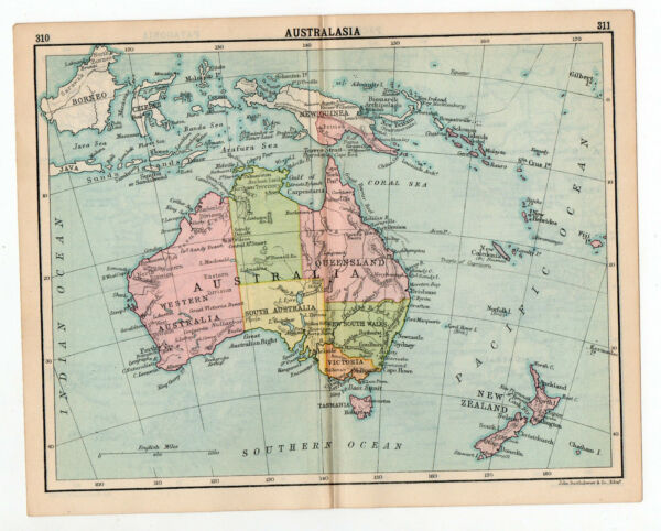 Map Of Australasia Australia Antique John Bartholomew
