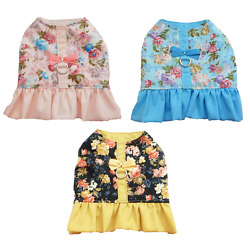 Dog Harness dress  spring roses small dog puppy chihuahua pink blue black