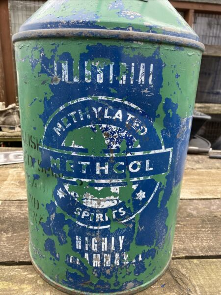 Vintage 4 Gallon Steel Methelated Spirit/Paraffin Can, Solid Clean Container.