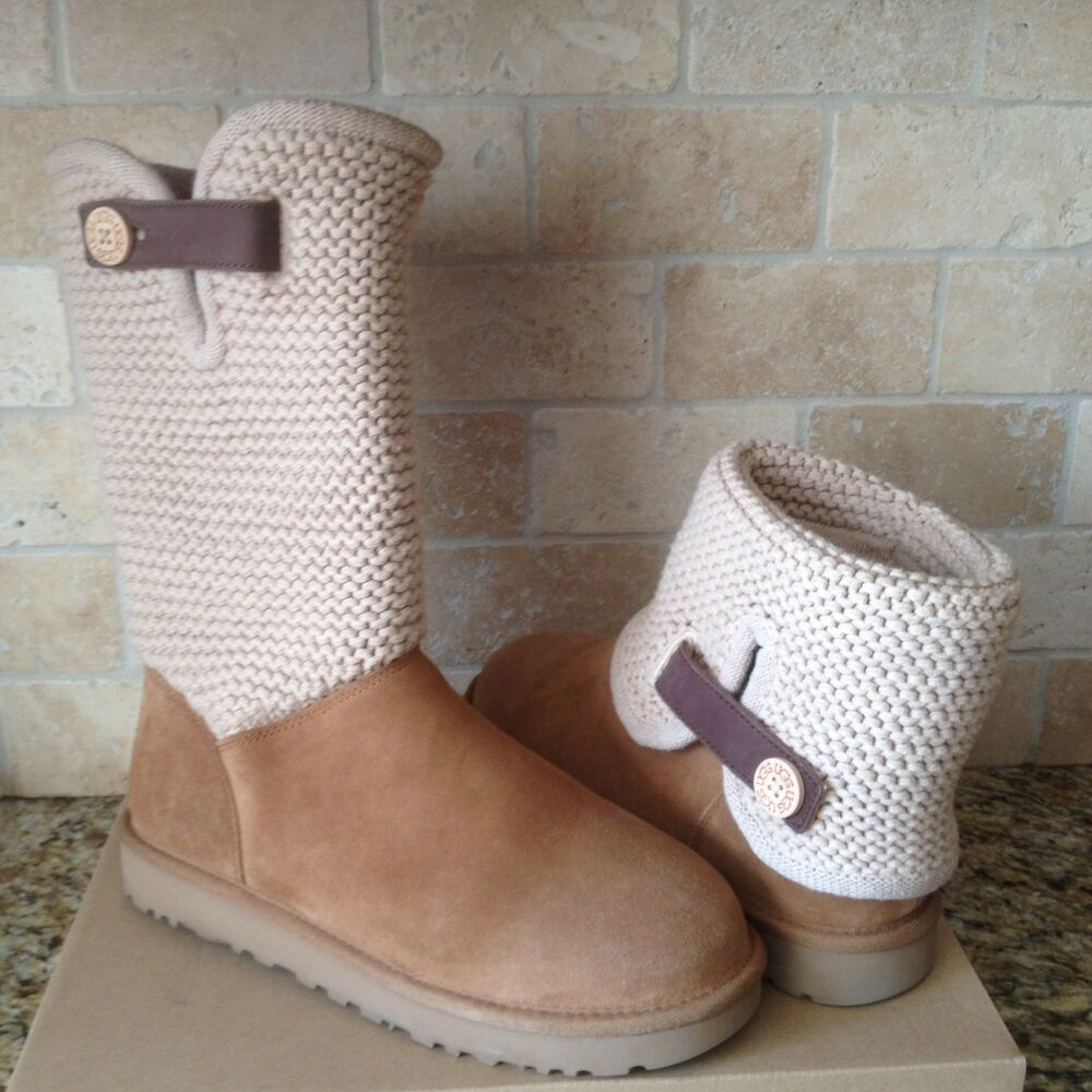 eaede25bb95 UGG Shaina Chestnut Button Suede Knit Cuff Tall Ankle / Boots Size US 6  Womens | eBay