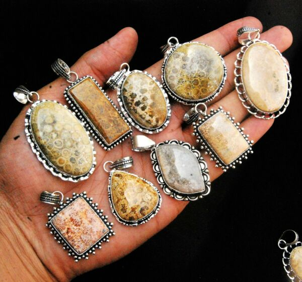 Wholesale Lot Natural FOSSIL CORAL 925 Gemstone Sterling Silver Plated Pendants