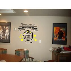 THEATER welcome sign home movie popcorn vinyl wall decor mural decal