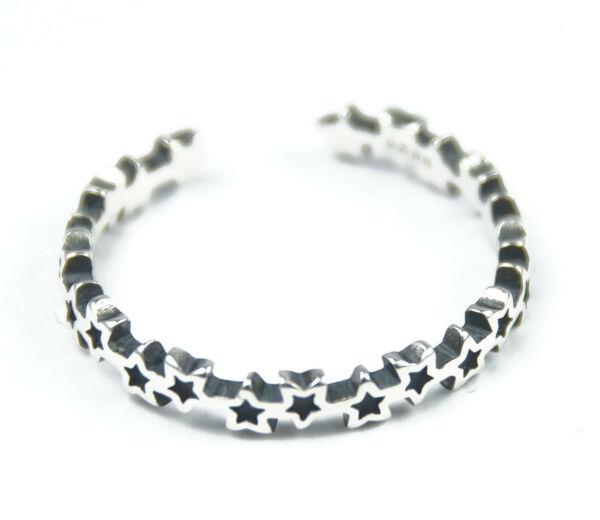 Women's Solid Silver Star Ring Stackable Adjustable Size
