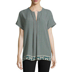 Nwt Max Studio Women's Multi-Color ''Connect-The-Dots'' Short Sleeve Tunic Top M
