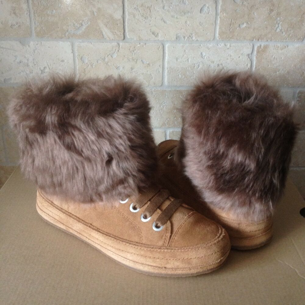 c4199485f85 UGG Antoine Fur Chestnut Suede Sheepskin Cuff Ankle Boots Shoes Size US 8  Womens | eBay