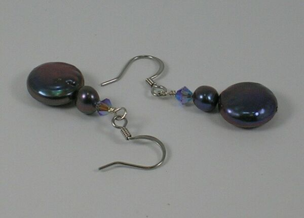 Peacock Coin Freshwater Pearl & Crystal Dropper Earrings