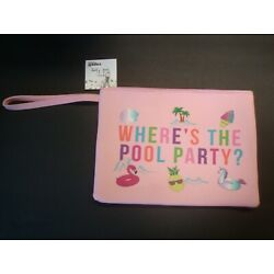 Capelli Waterproof Wet Swim Suit Bag with Wristlet Pink Where's The Pool Party?