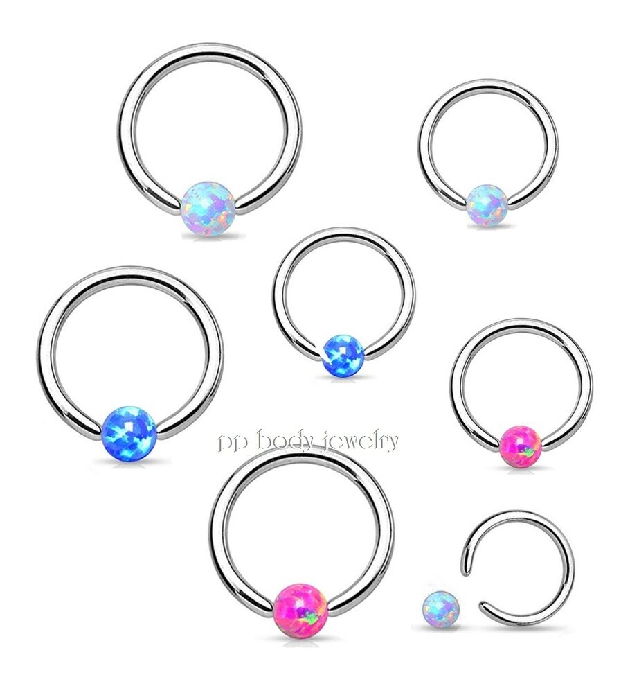 """16G 1//4/"""" 5//16/"""" Steel Synthetic Opal Captive Bead Ring Earring Tragus Septum 1PC"""