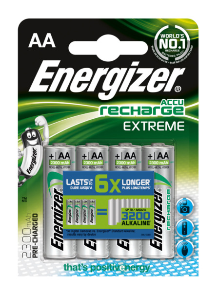 Lot 4 piles AA Energizer rechargeable - accu recharge Extreme HR6 2300 mAh NEUF
