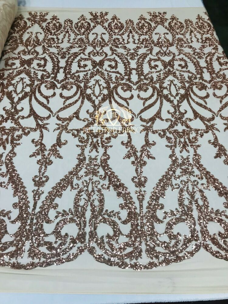 a1a525475e9 Details about 4-Way Stretch Rose Gold Mesh Lace Sequin Fabric Dress-Gown-Prom  1Yard