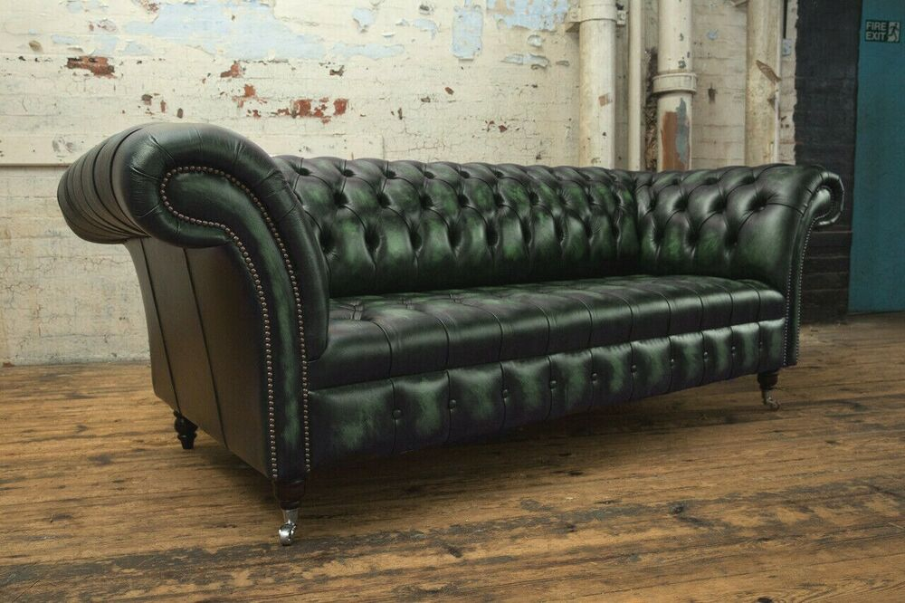Traditional 3 Seater Antique Green Leather Chesterfield Sofa Couch