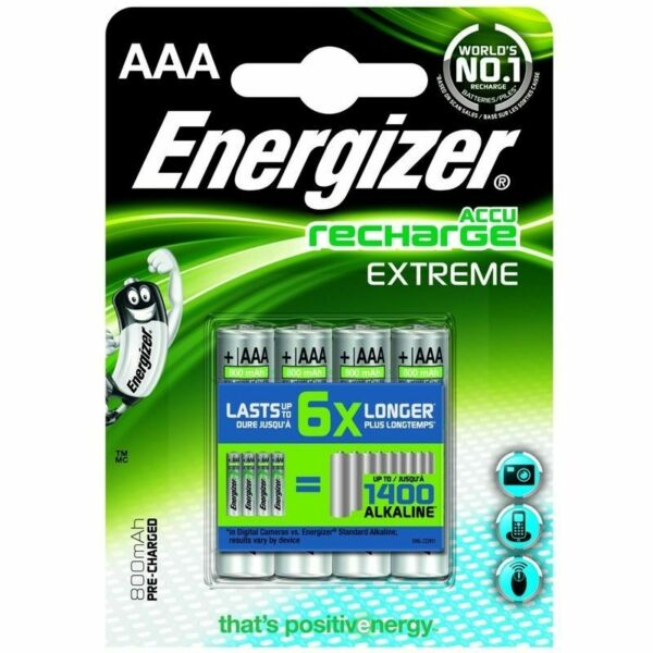 lot 4 piles AAA Energizer accu rechargeable - accu recharge Extreme 800mAh NEUF
